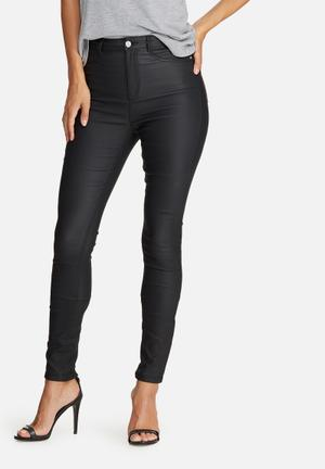 Missguided Vice High Waisted Coated Ankle Zip Skinny Jeans Black