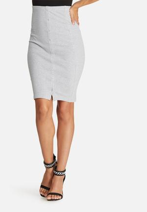 Missguided Popper Side Ribbed Midi Skirt Grey