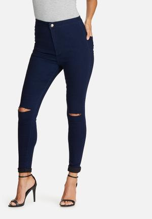 Missguided Vice Super Stretch High Waisted Ripped Knee Skinny Jeans Navy