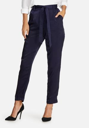 Missguided Satin Cigarette Trousers Navy