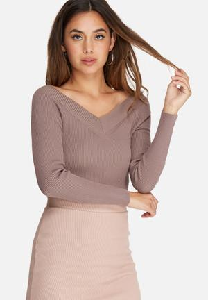 Missguided Off Shoulder Skinny Ribbed Cropped Jumper Knitwear Mauve