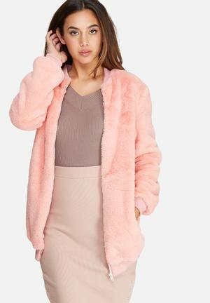 Missguided Longline Faux Fur Bomber Jacket  Pink