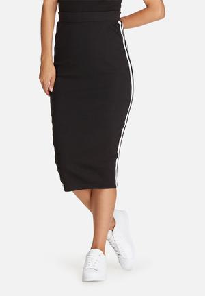 Missguided Ribbed Side Stripe Midi Skirt Black & White