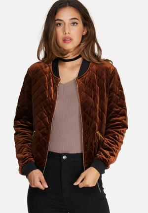 Missguided Quilted Bomber Jacket Brown & Bronze
