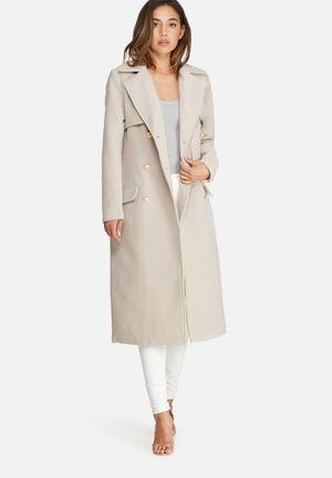 Missguided Longline Military Coat Nude