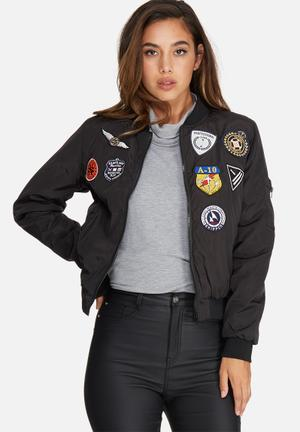 Missguided Badge Bomber Jacket Black