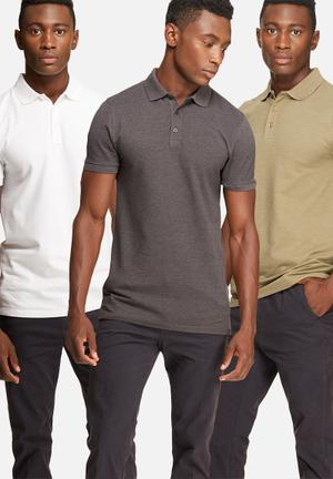 Basicthread 3 Pack Muscle Fit Polo T-Shirts & Vests White, Grey & Stone