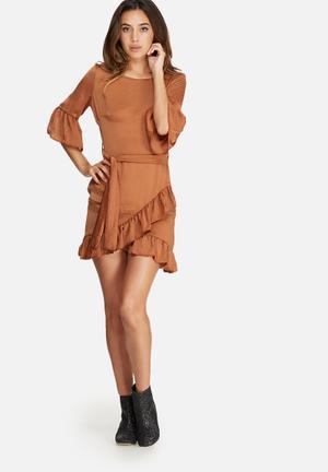 Missguided Ruffle Hem Tie Waist Hammered Satin Dress Occasion Brown