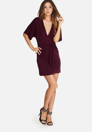 Missguided Kimono Sleeve Belted Wrap Dress Occasion Burgundy