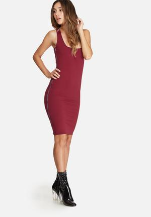 Missguided Zip Side Sleeveless Midi Dress Occasion Burgundy