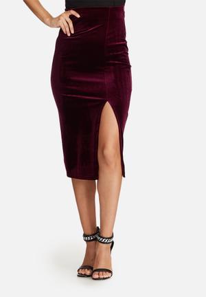 Missguided Velvet Split Side Midi Skirt Burgundy
