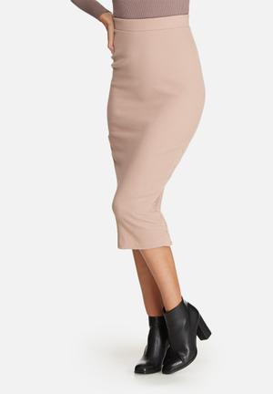 Missguided Double Popper Ribbed Midi Skirt Pink