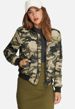Missguided Padded Bomber Jacket Camo Green, Beige & Black