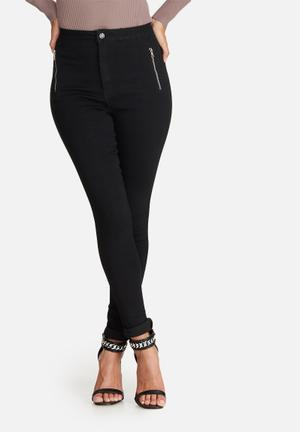 Missguided Vice Highwaisted Zip Detail Skinny Jean Black