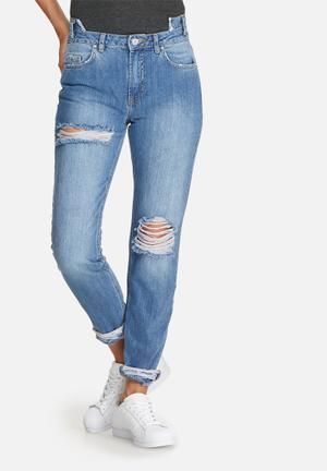 Missguided Riot Cut Out Front Waistband Jeans Blue