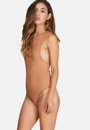 Missguided Drop Armhole Ribbed Bodysuit Knitwear Nude