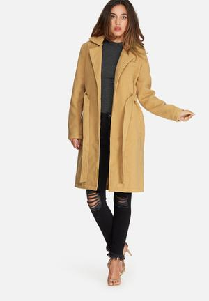 Missguided Belted Tailored Faux Wool Coat Camel