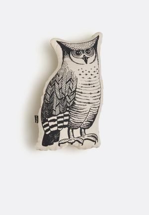 Ménagerie Woodlands Owl Cushion Stone & Black