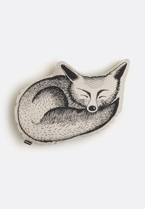 Ménagerie Woodlands Sleepy Fox Cushion Stone & Black