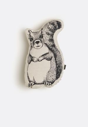 Ménagerie Woodlands Squirrel Cushion Stone & Black