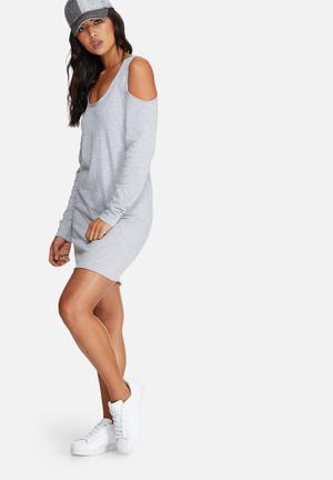 Missguided Cold Shoulder Raw Hem Jumper Dress Casual Grey