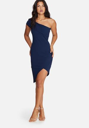 Missguided Asymmetric Bodycon Dress Occasion Navy