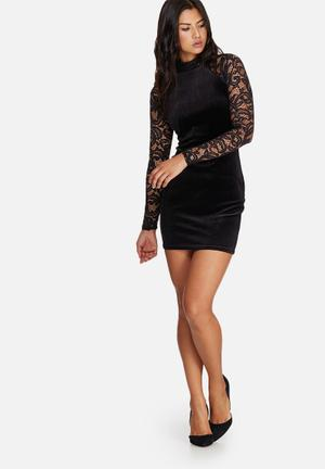 Missguided Velvet & Lace Sleeve Bodycon Dress Occasion Black