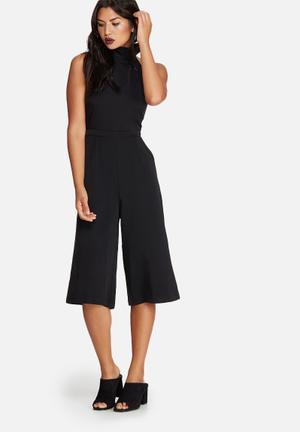 Missguided Crepe High Neck Tie Culotte Jumpsuit Black