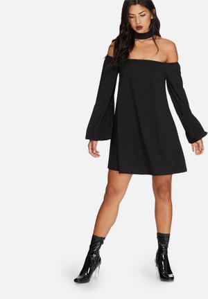 Missguided Choker Neck Bardot Dress Occasion Black