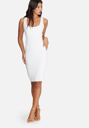 Missguided Zip Side Sleeveless Midi Dress Occasion White