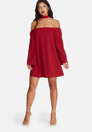 Missguided Choker Neck Bardot Dress Occasion Burgundy