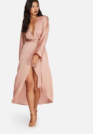Missguided Silky Kimono Maxi Dress Occasion Pink