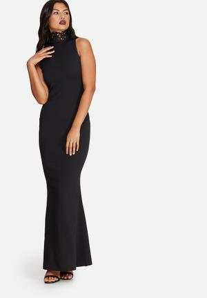 Missguided Crepe Neck Lace Maxi Dress Occasion Black