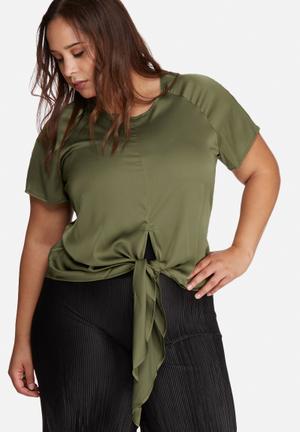 Missguided Plus Size Satin Tie Front Top Khaki