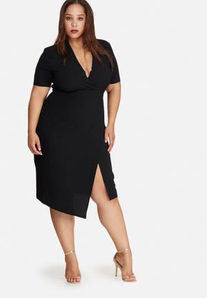 Missguided Plus Size Wrap Midi Dress Black