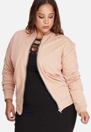 Missguided Plus Size Loop Back Bomber Jacket Blush
