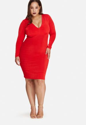 Missguided Plus Size V-neck Slinky Midi Dress Red
