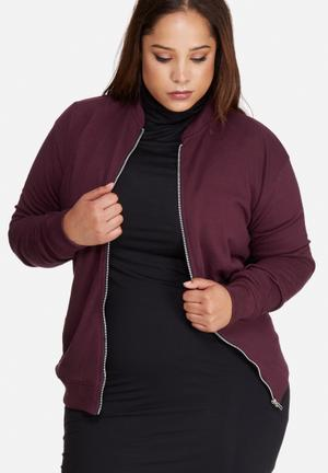 Missguided Plus Size Jersey Bomber Jacket Burgundy
