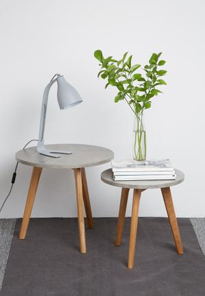 Eleven Past Basalt Nesting Tables Laminated Top With A Concrete Pattern & Wood
