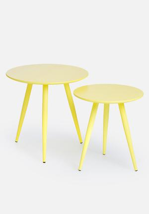 Eleven Past Yellow Nesting Tables Wood