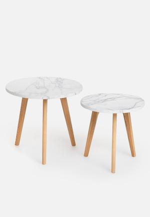 Eleven Past Emma Nesting Tables Laminated Top With A Marble Pattern & Wood
