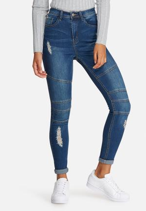 Missguided Sinner High Waisted Biker Ripped Skinny Jeans Blue