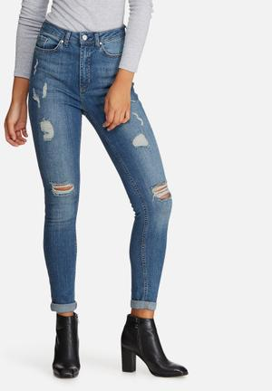 Missguided Sinner Highwaisted Ripped Skinny Jeans Blue