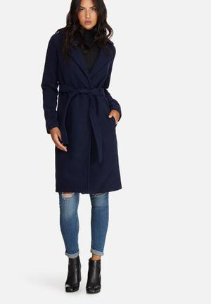Missguided Belted Tailored Faux Wool Coat Navy