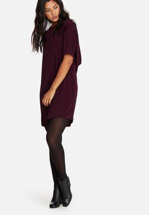 Missguided Slinky Cowl Back Mini Dress Occasion Burgundy