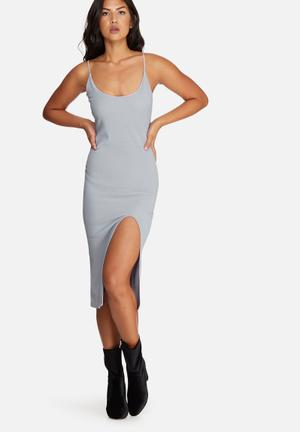 Missguided Strappy Scoop Neck Midi Dress Occasion Grey