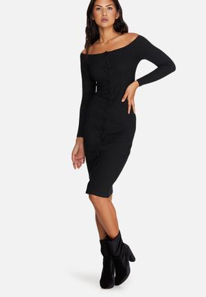 Missguided Long Sleeve Bardot Rib Midi Dress Casual Black