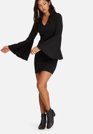 Missguided Fluted Sleeve Scuba Crepe Bodycon Occasion Black