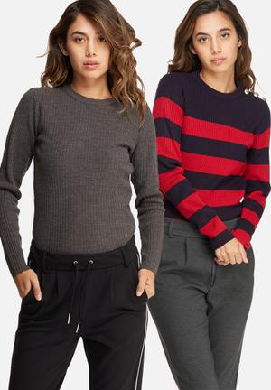 Dailyfriday Button Detail Sweater 2 Pack Knitwear Navy, Red & Grey