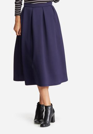 Dailyfriday Full Pleated Midi Skirt Navy